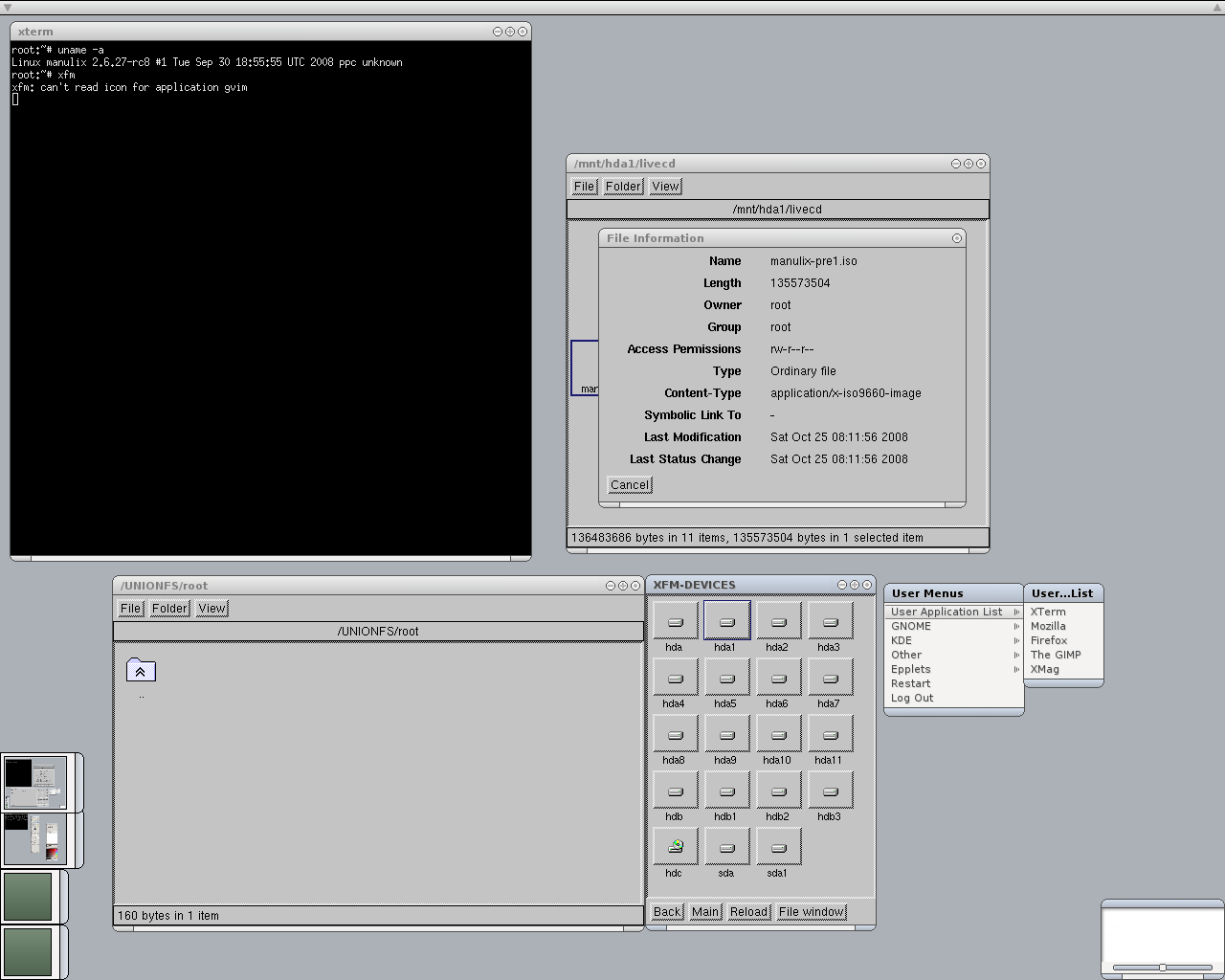One of the earliest screenshots of Manulix //(version pre1)// with xorg, e16, xfm and gimp post-installed