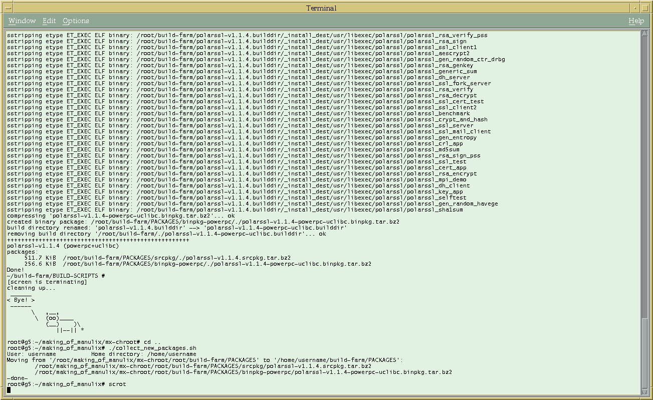 August, 2012: manulionix chroot in just-made-free CDE, polarssl has been built